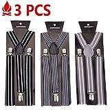 AFUT Gestreift Hosenträger für Herren breit extra starken 2.5 cm mit 3er Clips Y-Form Längeverstellbar Elastisch Gürtel für Männer und Damen
