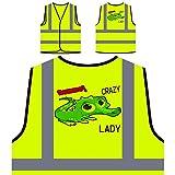 Verrückte Krokodil-Dame Personalisierte High Visibility Gelbe Sicherheitsjacke Weste u326v