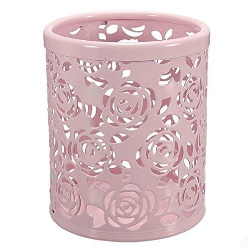 sungpunet Hohl Rose Blume Muster Zylinder Stift Bleistift Topf Halter Container Organizer Bürobedarf