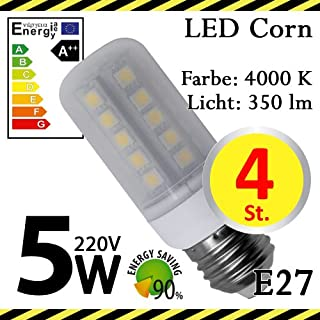 4-er Pack ALMIPEX E27 LED Lampe Korn 5W (350lm - 4500 K - Weiß - 33 x SMD 5050 - 270º Abstrahlwinkel - E27 Sockel - 230V AC - 5 Watt - Ø 32×90 mm)