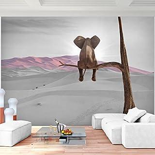 Fototapete Elefant Vlies Wand Tapete Wohnzimmer Schlafzimmer Büro Flur Dekoration Wandbilder XXL Moderne Wanddeko - 100% MADE IN GERMANY - Afrika Wüste Runa Tapeten 9133010b