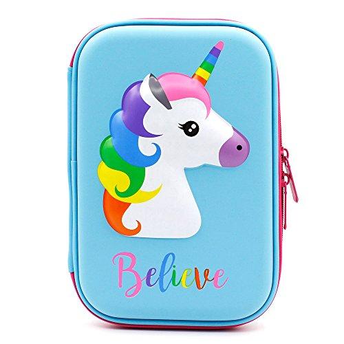 Astuccio con grazioso unicorno in rilievo, con parte superiore rigida, per bambini, grande, per matite, penne e cancelleria, con compartimenti multipli, anche per cosmetici per bambine light blue