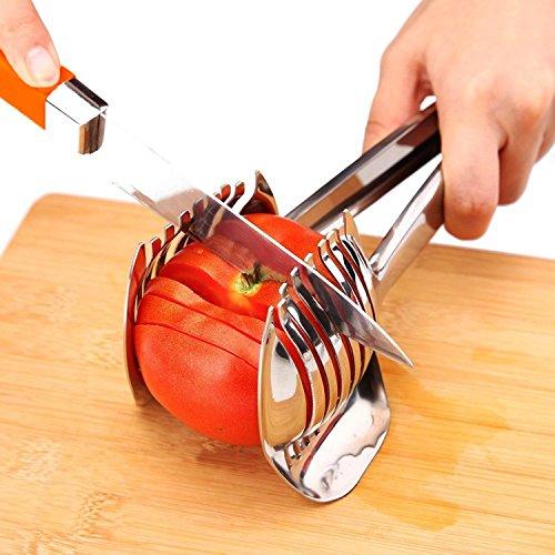 trancheuse Tomate Citron Cutter en acier inoxydable Multipurpose Fruit ronde Pince d'oignon support facile trancher Kiwi Fruits et légumes outils de cuisine de coupe Helper Clamp, passe au lave-vaisselle