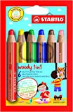 Brand New. Stabilo Woody 3-in-1 Colouring Pencils Wax Crayons Watercolours Line 10mm Assorted Ref 8806 [Pack 6]