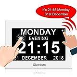 "iGuerburn 8"" Digital Talking Touchscreen Day Calendar Alarm Clock for Seniors Elderly Dementia"