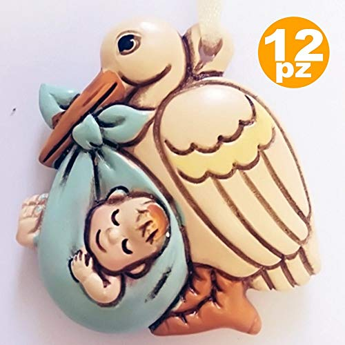 Trade shop traesio set 12 bomboniere cicogna azzurro maschio ceramica appendino battesimo nascita