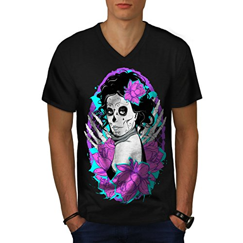 nochen Horror Herren S V-Ausschnitt T-shirt | Wellcoda (Shake Dem Halloween Knochen)
