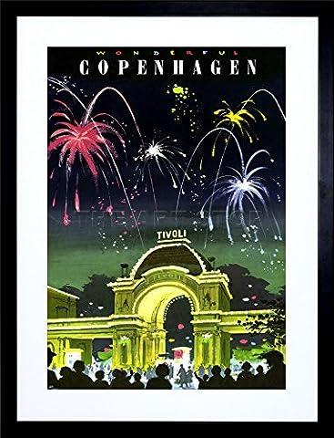 COPENHAGEN DENMARK TIVOLI GARDENS FIREWORKS FRAMED ART PRINT PICTURE F12X1366