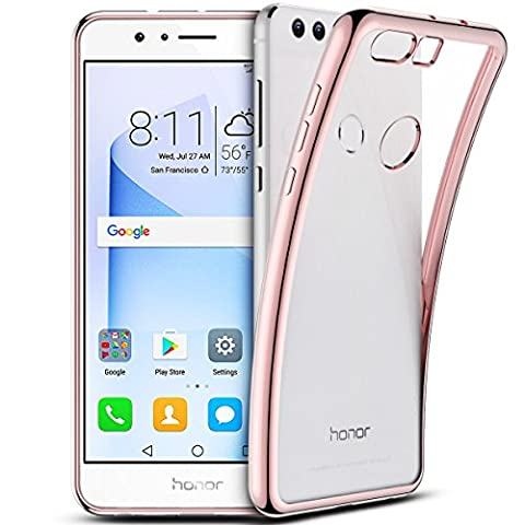 SmartLegend Huawei Honor 8 Coque Silicone ,Honor 8 Etui Clair , Huawei Honor 8 Housse Silicone Crystal Transparente Ultra Mince Premium Semi - Transparent Shockproof Anti Slip Soft Rubber Back Panel Bumper Fashion Protection Case - Rose Gold - Huawei Honor 8