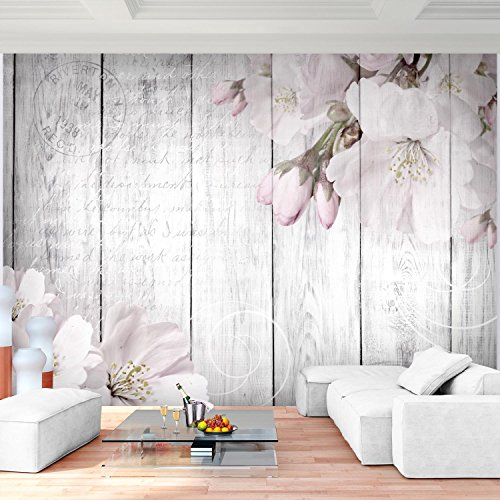 *Fototapete Blumen Grau 396 x 280 cm Vlies Wand Tapete Wohnzimmer Schlafzimmer Büro Flur Dekoration Wandbilder XXL Moderne Wanddeko Flower 100% MADE IN GERMANY – Runa Tapeten 9118012b*