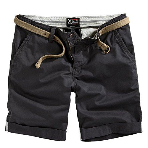 Trooper Herren Chino Shorts Bermuda Kurze Hose, Schwarz, Größe L
