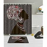 LB 180X180CM 3D impression polyester Tissu Rideau de douche & Antidérapant Tapis de bain ensemble Une femme africaine de mode avec coiffure afro Modèle Imperméable anti-moisissure bain Rideau avec 12 crochets en plastique