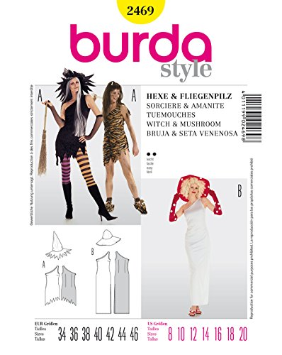 (Burda 2469 Schnittmuster Kostüm Fasching Karneval Hexe, Fliegenpilz (Damen, Gr. 34-46) – Level 2 leicht)