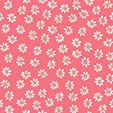 pink with white daisy flower poplin organic fabric monaluna USA (per 0.5m)