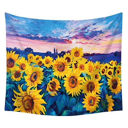 Finebo Handgemachte Teppich Sunflower Tapisserie für Immer Wand hängen warme goldene gelbe und grüne Wand und Home Decor für Aufhänger Decke Picknick (C) -