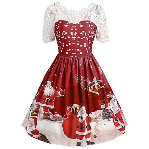 Luckycat Damen Frohe Weihnachten Vintage Weihnachtsmann Print Lace Abend Party Kleid Abendkleider Cocktailkleid Partykleider Blusenkleid Mode 2018