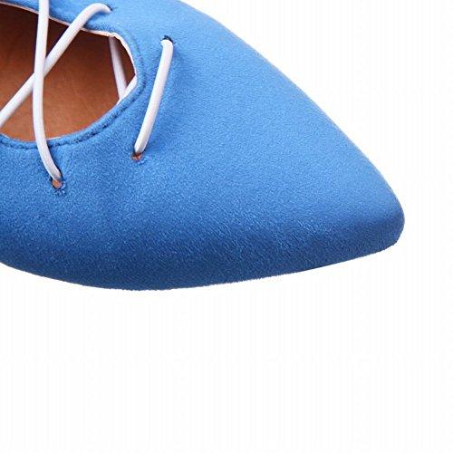 Mee Shoes Damen Flach Schnürung Knöchelriemchen Sandalen Blau