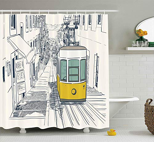 Urban Decor Shower Curtain by, Sketch Style City Scenery with Street Bus in Town Lisbon Modern Artwork, Fabric Bathroom Decor Set with Hooks, 66x72 inches, Coconut Mustard