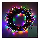 100-500 LED Batterie Lichterkette Kette Batteriebetrieben 8 Modi und Timer Leuchte Beleuchtung Grünes Kabel für Weihnachtsbaum, Garten, Party Innen und Außen Dekoration (Bunt, 200LEDs)