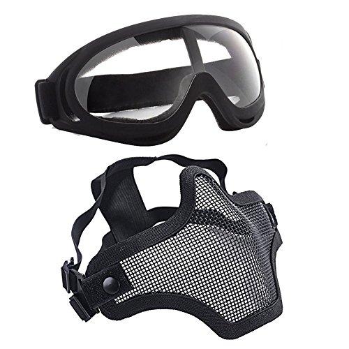 Balight Juego máscara media cara gafas malla acero