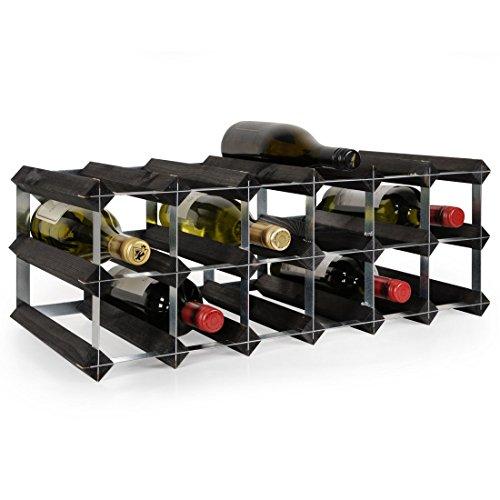 Weinregal/Flaschenregal System TREND-Weinregal aus Kiefer gebeizt, komplett montiert, stapelbar und ausziehbar, Farbe: schwarz - Komplett Montiert