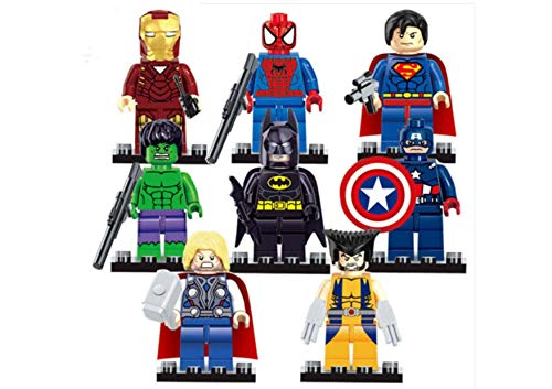 Kids Corner Productions® - Super Heroes Figures 9 Set Mini Figures Marvel Kids Corner Productions®nd DC Comics - Party Bag with Batman, Spiderman, IronMan, Thor, DeadPool, ()