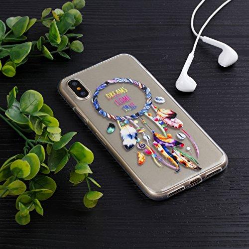 Slynmax Crystal Clear TPU Cover per iPhone X Custodia Silicone Caso Molle di Morbida Sottile Gel Transparent Bumper Case Protettiva Caso Chiaro Copertura Slim Thin Skin Shell Protezione per iPhone X S Modello #4