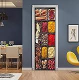 Arte Moderna 3D Carta Da Parati Porta Materiale Da Cucina Speziato, Porta Murale In Vinile, Porta Arte Ufficio Soggiorno Decorazione Porta Adesivo Staccabile