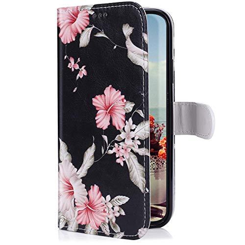Uposao Kompatibel mit LG G8 ThinQ Hülle mit Bunt Muster Motiv Brieftasche Handyhülle Leder Schutzhülle Klappbar Wallet Tasche Flip Case Ständer Ledertasche Magnet,Pink Blumen