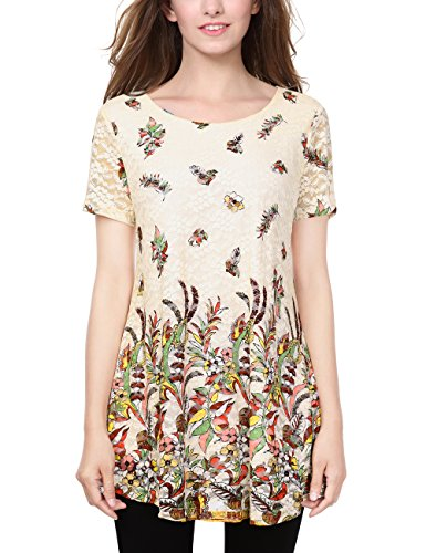 BaiShengGT Women's Lace Floral Printed Round Neck Loose Flared Tunic Top