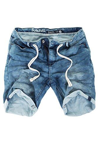 Sublevel Jogg Jeans Shorts Herren Kurze Hose Denim Sommer Jogger Bermuda Chino (Blau, W34)
