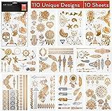 Arteza Tatuajes temporales | Set de 10 láminas de calcomanías para la piel | Tatuajes falsos de colores metálicos, dorados y plateados | 110 diseños originales