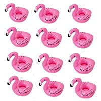 KATERT 12 Pack Inflatable Floating Flamingo Drink Holder Floats Inflatable Floating Coasters for Pool Party Water Fun