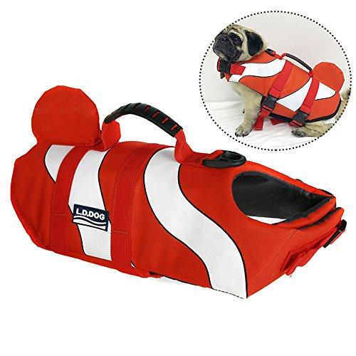 JunBo Hunde Schwimmweste Schweben Rettungsweste Hunde Einstellbar (S, Orange)