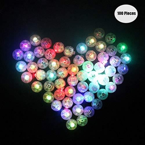 Yuccer LED-Ballons Lichter, Mini LED Licht Bunt Beleuchtung für Papierlaternen Ballons Hochzeit Party Blumen Dekoration Balloon Lights 100 Pack (A Runden)