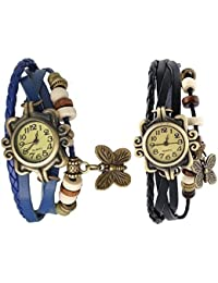 RTimes Blue and Black Vintage Designer Leather Set of 2 Multicolor Bracelet Butterfly Watch for Girls, Women