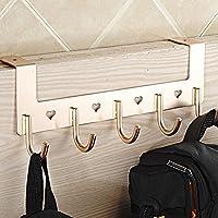 Ozzptuu Aluminum 5-Hook Over The Door Wall Hook Heart Hollow Coat Hook Rack for Bathroom Bedroom