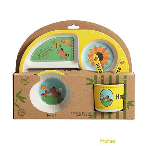 QIA 5-Stück Bamboo Dinner Set für Kinder, Kids Set inklusive-Eco freundlich,D