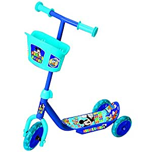 Mickey 3 Wheel Scooter with Basket, Blue