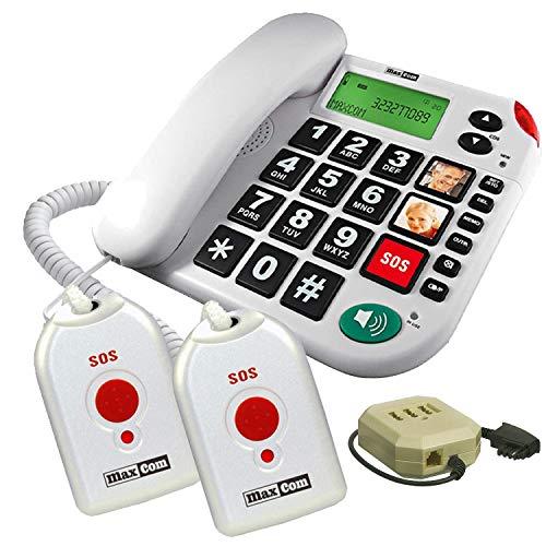 Maxcom KXTSOS: Seniorentelefon mit Funk-Notruf-Sender, schnurgebundenes Festnetztelefon mit 2 Umhängesendern, großen Tasten, Adapterstecker, hörgerätekompatbel
