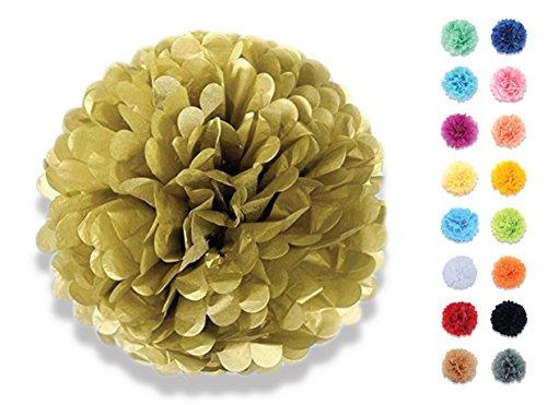denpapier Deko-Pompoms 20 cm gold | Schöne Hochzeit-Deko, Geburtstag-Deko, Baby Shower-Deko, Hochzeitsauto-Deko, Garten Party-Deko | Inklusive Pompons Video-Aufbauanleitung (Blumen-party-servietten)