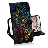Glitzer Brieftasche Hülle für Samsung Galaxy A70,Miagon Änderung Farbe Tier Gemalt PU Leder Faltbare Flip Case mit Kartenhalter Standfunktion,Schmetterling