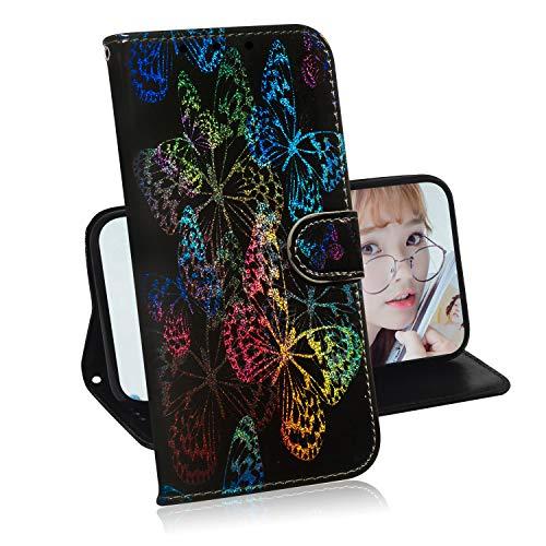 Glitzer Brieftasche Hülle für Samsung Galaxy J6 2018,Miagon Änderung Farbe Tier Gemalt PU Leder Faltbare Flip Case mit Kartenhalter Standfunktion,Schmetterling