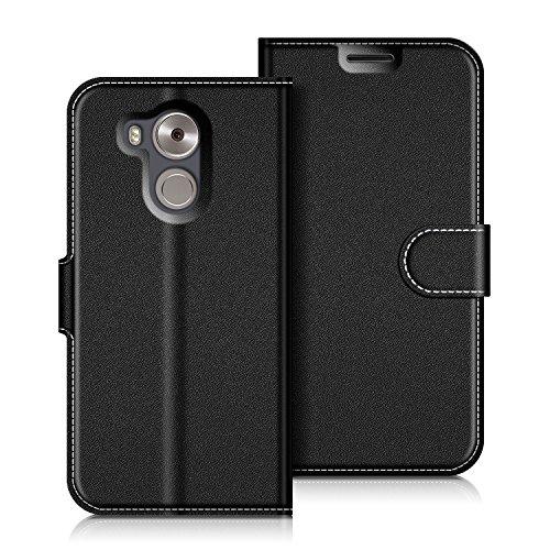 Coodio Huawei Mate 8 Hülle Leder Lederhülle Ledertasche Wallet Handyhülle Tasche Schutzhülle mit Magnetverschluss / Kartenfächer für Huawei Mate 8, Schwarz