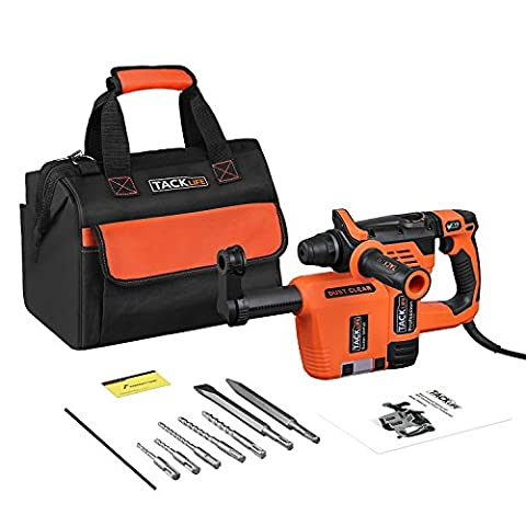 Tacklife RHN31AC Professional 3 Modes SDS Plus Rotary Hammer with Dust Collection Hammer Drill Shockproof Hammer Drill Adjustment Direction Hammer Drill Chisel Including 5 Drill Bits 2 Chisel