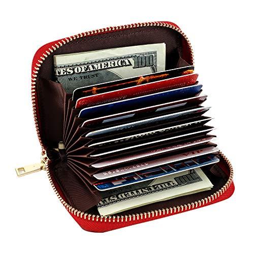 Leder Kreditkartenetui, RFID Kartenetui Visitenkartenetui Zippered Geldbörse Portemonnaie für...