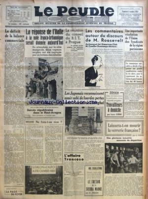 PEUPLE C.G.T. LE No 6104 Du 08/10/1937 - LE DEFICIT DE LA BALANCE COMMERCIALE PAR J. DUPIOL - LA REPONSE DE L'ITALIE A LA NOTE FRANCO-BRITANNIQUE SERAIT DONNEE AUJOURD'HUI - NE FERA-T-ON RIEN ? PAR EUGENE MOREL - LE SALON DE L'AUTO A ETE OUVERT HIER -