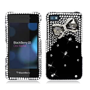 Aimo Wireless BB10PC3D-SD904 3D Premium Stylish Diamond Bling Case for BlackBerry Z10 - Black Bow Tie