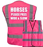 Brook Hi Vis Pink High Visibility Vest with White Text HORSES PLEASE PASS WIDE & SLOW...