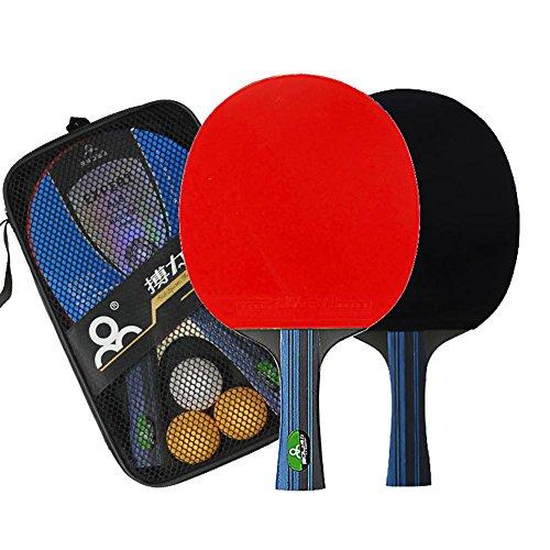 Tischtennisschlaeger Set Tischtennis Set mit 2 Tischtennisschlaeger 3 Tischtennisbälle Sieben Schichten Reines Holz Tischtennisschlaeger für Wettkampftraining